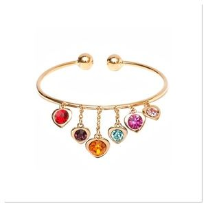 Heart Charm Cuff with Swarovski Crystals